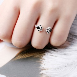 Lovely Funny Cat Foot Girl Open Ring Animal Ring