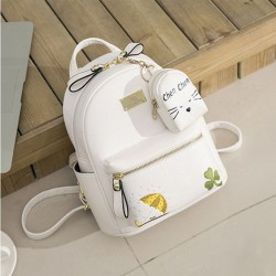Cute Mini Embroidery Clover Umbrella Cartoon Soft PU Student Small Backpack