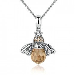Original Crystal Bee Pendant Animal Necklace Silver Women Necklace