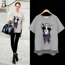 Fashion Irregular Tree-dimensional Crown Dog Loose T-shirt