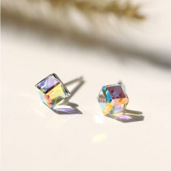 Cute Sugar Cube Silver Crystal Square Women Earrings