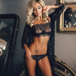 Sexy Black Perspective Temptation Flower Eyelash Lace Bra Set Underwear Lingerie