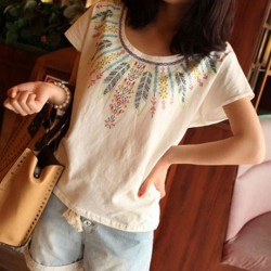 Bohemian Style Feather Printed Cotton T-shirt