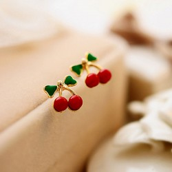 Lovely Green Leaves Red Cherry Women Earrings Studs