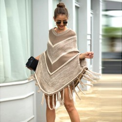 Leisure Shawl Tassel Geometry Round Collar Pullover Autumn Cloak Women Sweater