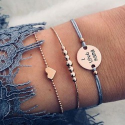 Fashion I Love Mama Alphabet Love Heart Beaded Three-piece Bracelet
