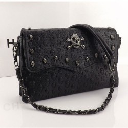 Elegant Black Rivet Skull Printed Shoulder Bag