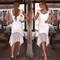 Sweet White Hollow Lace Summer Sling Slim Dress