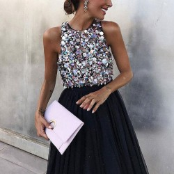 Sexy Black Sleeveless Prom Dress Halter Party Sequin Dress