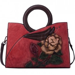 Retro Original Large Flower Leaves Handbag Handmade Embossing Circle Handle Rose Shoulder Bag