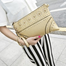 Fashion Rivets Embossed Rhinestone Clutch Bag