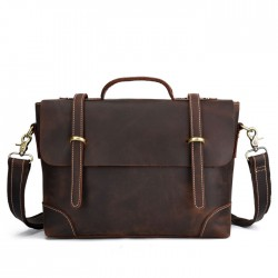 Retro Leather Briefcase Men's Handbags Double Buckle Leather Business Bag Shoulder Bag
