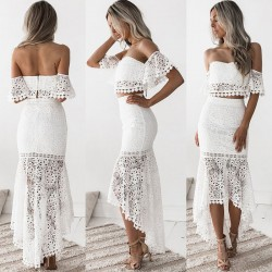 Sweet Lace Pencil Skirt Two Piece Set Hollow Summer Bandeau Backless Long Dress