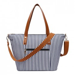 Casual Beach Stripe Shoulder Bag Fashion Stripes Large Canvas Women Handbag