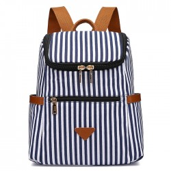 Leisure Vertical Stripes Student Bag Summer Canvas Stripe School Backpacks