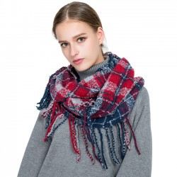 Unique Tassel Women Winter Autumn Scarf Grid Warm Scarves