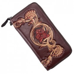 Retro Flower Long Wallet Leather Embossing Carved Phone Purse Clutch Bag