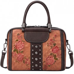 Retro 3D Flower Leaves Rivet Shoulder Bag Original Handbag