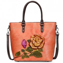 Retro 3D Flower Leaves Rose Large Original Handbag Shoulder Bag