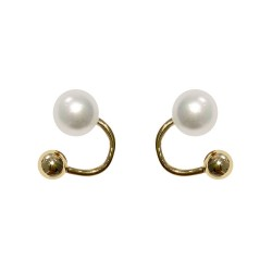 Cute Unique Pearl Metal Ball Arc Earrings For Women 18K Gold Plated Sterling Silver Earring Studs