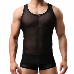 Sexy Lingerie For Man See Through Sleeveless Vest Gym Muscle Round Neck T Shirt Mesh Tank Top Undershirts
