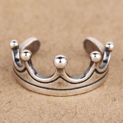 Retro Fashion Crown Silver Opening Ring