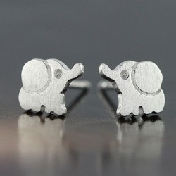 Lovely Elephant 925 Sterling Silver Stud Earrings