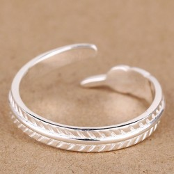 Fashion Feather 925 Sterling Sliver Ring