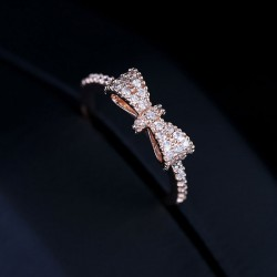 Shiny Crystal Gold Plating Bow Ring