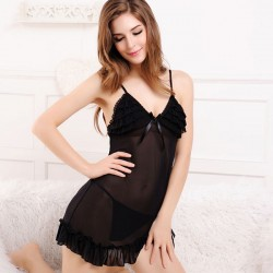 Elegant Black Flounced Irregular Pajamas