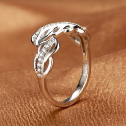 Feather Platinum Plated Zircon Silver Opening Ring