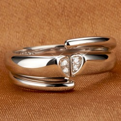 Romantic Platinum Plated Zircon Couple Ring