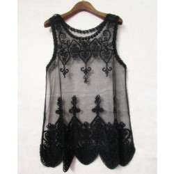 Retro Full Lace Embroidery Transparent Crochet Blouse Shirt