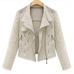Slim Lace Zipper Lapel Jacket Coat