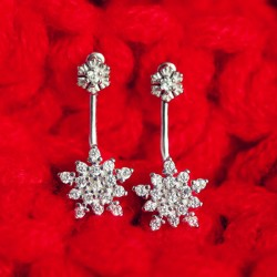 Fashion Snowflake Zircon Silver Hanging Earrings