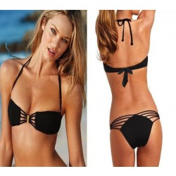 Unique Ruched Push Up Bandeau Top Side  Bikini Swimsuit