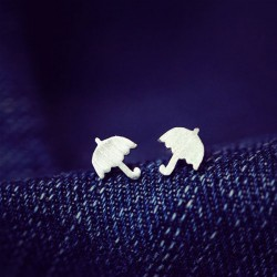 Matte Color Lovely Childlike Umbrella Silver Pins Earrings