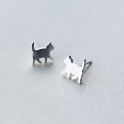 Sweet Mini Brushed Cat Ear Studs Animal Jewelry Kitty  925 Silver Earrings Studs