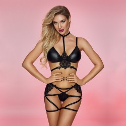 Sexy Black Wet Look Clubwear See Through Lace Long Sleeve Lingerie PU Leather Bra Bandage Thong Women's Lingerie