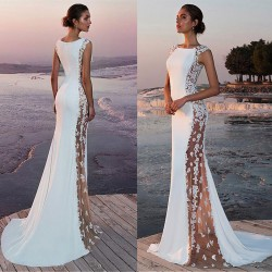 Elegant New Sideways Perspective Lace Sleeveless White Bridesmaid Long Dress Party Dress