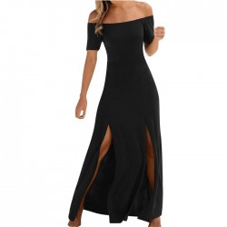 New Black Short Sleeve Split Strapless Long Summer Dress Party Dress