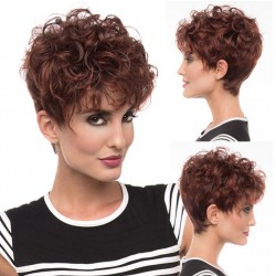 Fashion Brown Fluffy Short Curly Hair Wig Headgear Women's Wavy Hair Wig