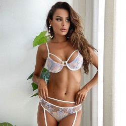 Sexy Flowers Gather Bra Set Underwear Spicy Intimate Hot Transparent Embroidered Teenage Lingerie