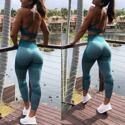 Sexy Knitted Buttocks Splice Yoga Pants Sports Fitness Slim Women's Leggings