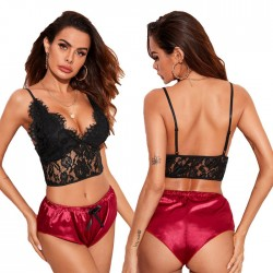 Sexy Black Eyelash Lace Perspective Gather Bra Set Red Short Panties Women's Lingerie