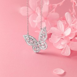 Cute Butterfly Zircon Crystal Pendant Flash Wings Clavicle Chain Animal Jewelry Necklace