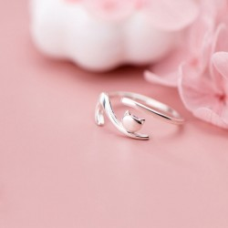 Cute Lying Down Cat Open Toe Rings Kitten Engagement Finger Jewelry Gifts For Her Animal Silver Ring