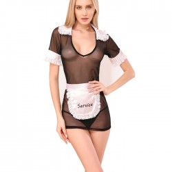 Sexy Black Mesh Maid Cosplay Perspective Lace Nightdress Women's Lingerie