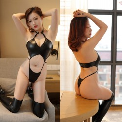 Teddy For Women Gothic Neck Ring Strap Pu Patent Leather One Piece Bodysuit Lingerie