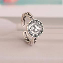 Retro Portrait Coin Punk Hollow Hip Hop Opening Ring Queen Silver Twist Ring